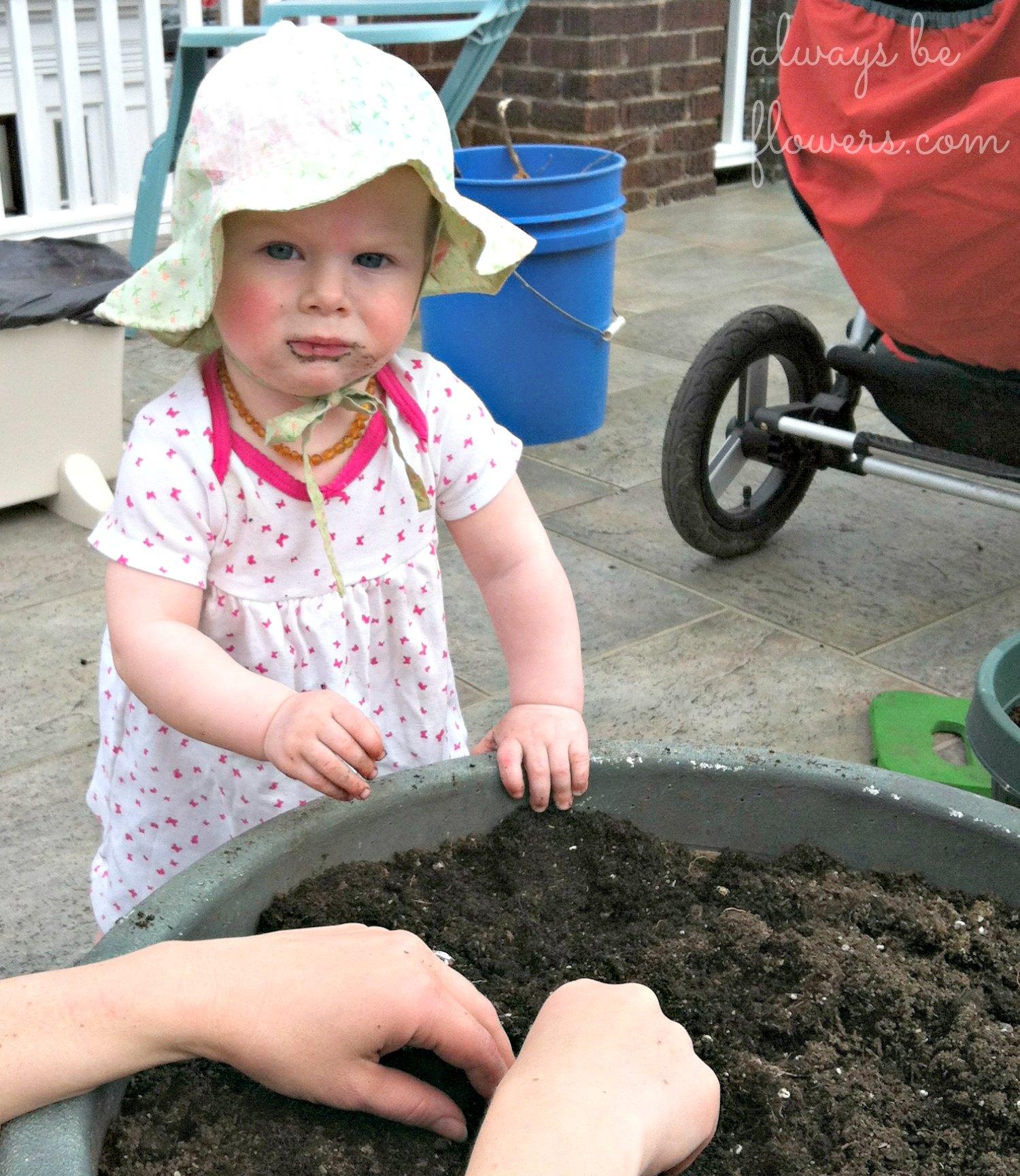 Gardening with my toddler.