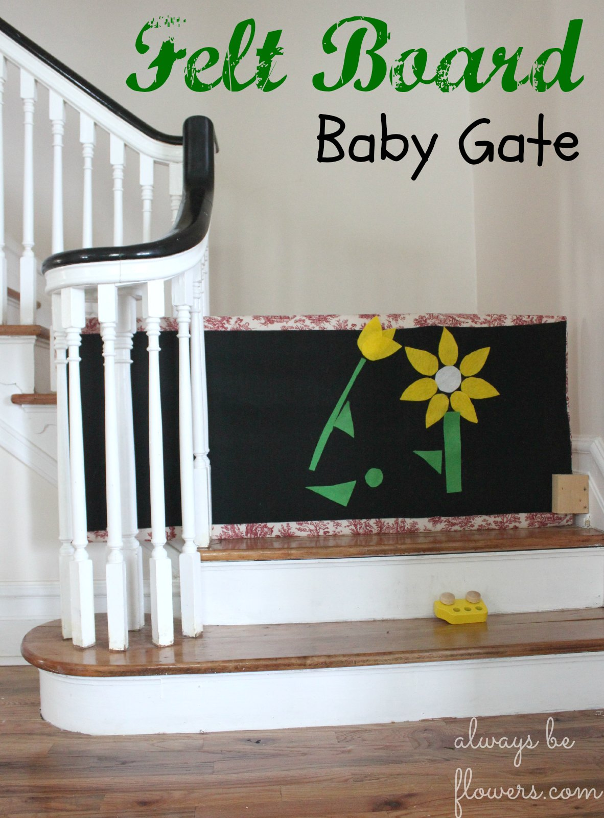 Felt board baby gate slides aside for stair use.