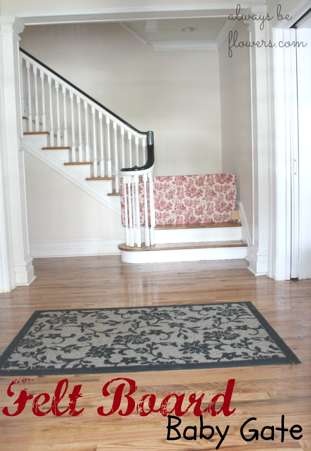 Upholstered on one side and felt on the other, this gate looks pretty decent in the entryway. I do need a new rug though...