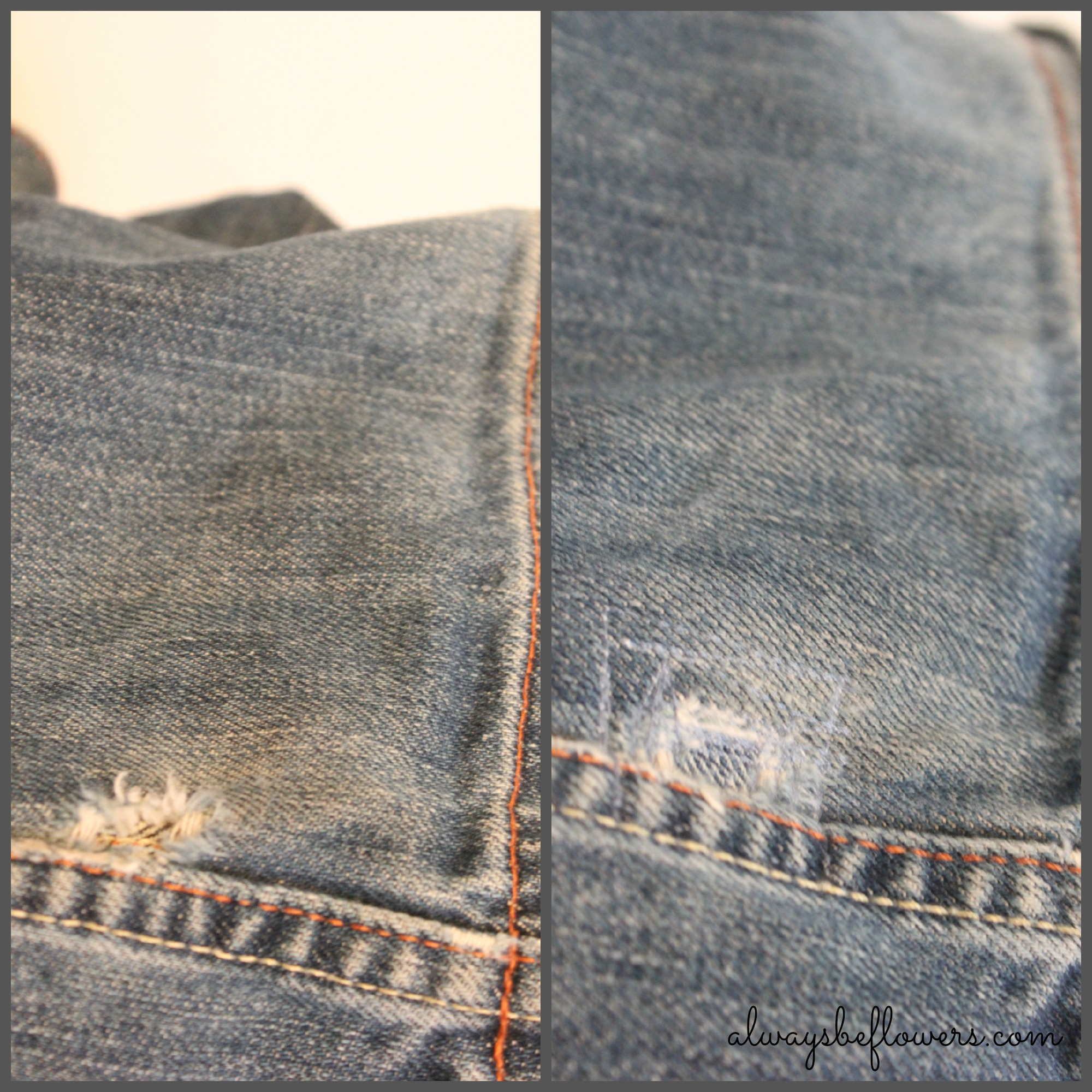 On left, a small hole. On right, the patched hole.