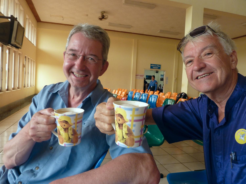 my brother John and I at the Mandalay airport