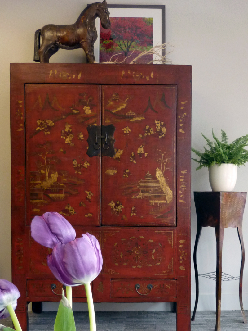 This red and gold armoire really pops in the foyer of Intaglio Interiors, the great Front Street design shop in Missoula.Thank you, Kelly!