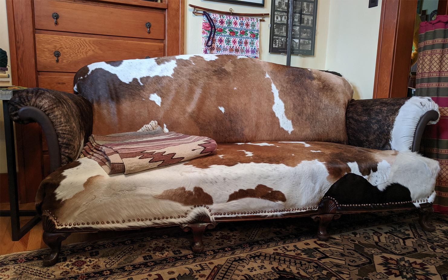 Cowhide Sofa by Susan Gilmore