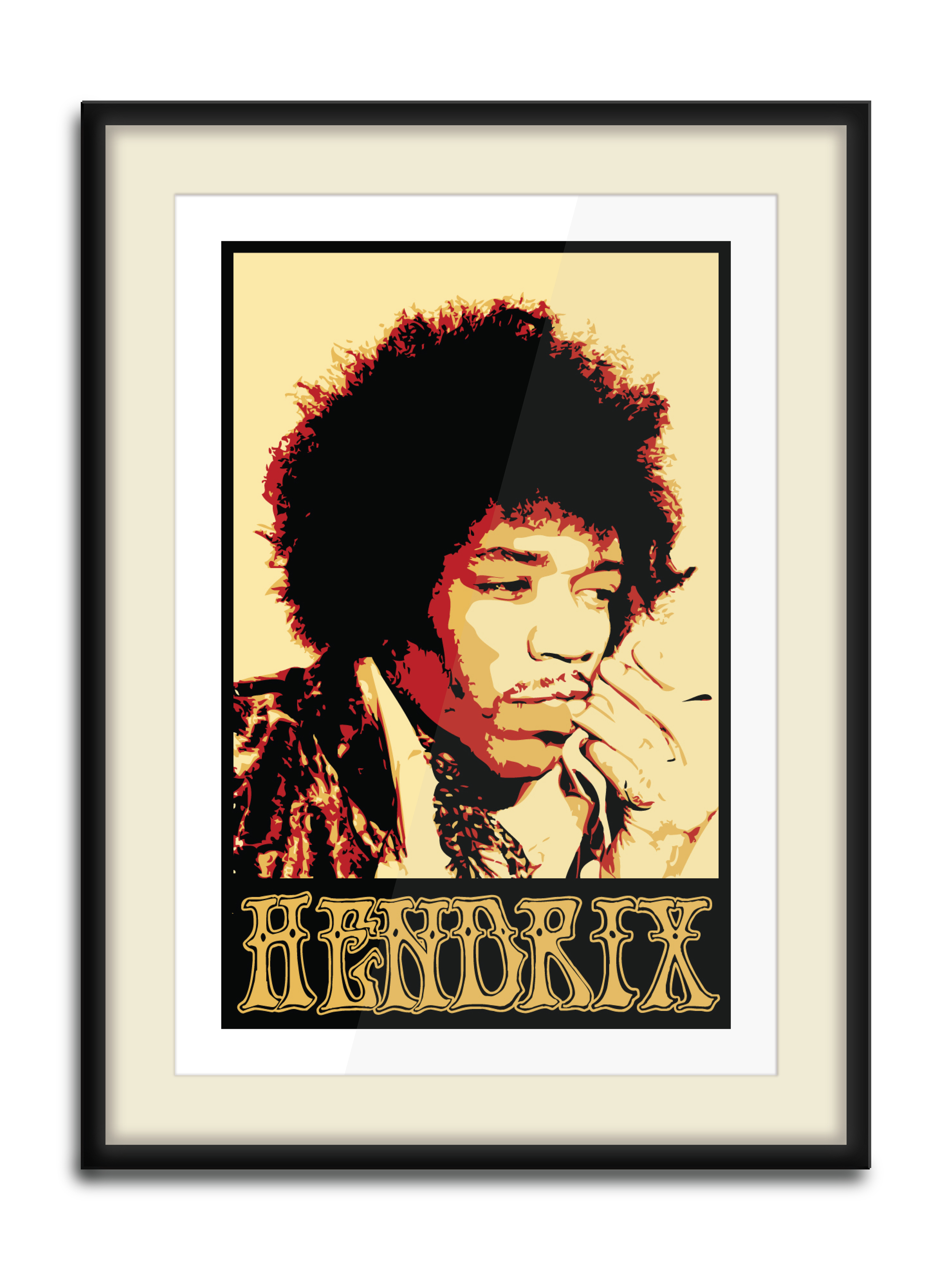 """""""Jimi Print""""  4 Color Hand Pulled Screen Print  Print Size: 11"""" x 17""""  Edition of 10"""