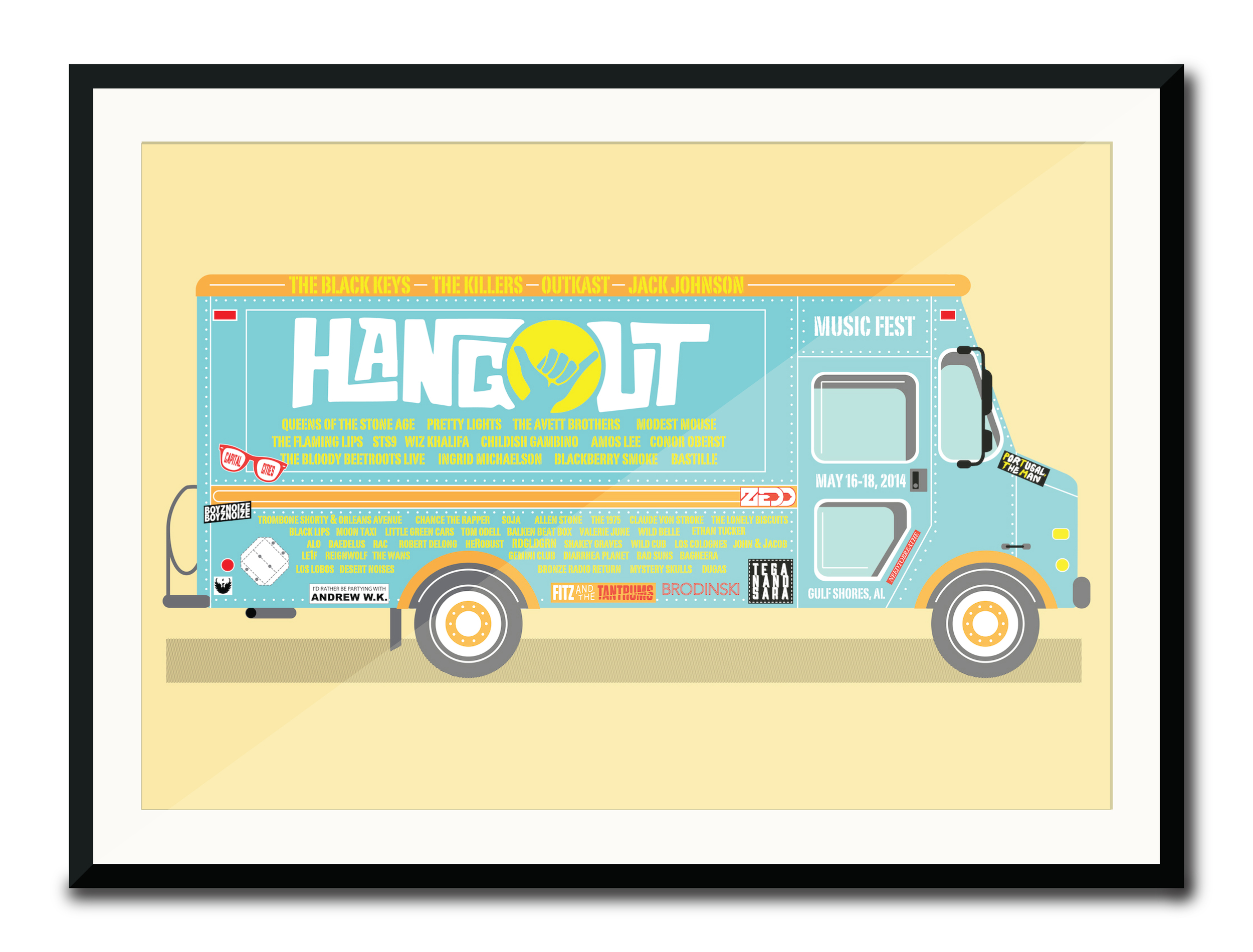 """""""Hangout Fest Poster""""  5 Color Hand Pulled Screen Print  Print Size: 11"""" x 17""""  Edition of 25"""