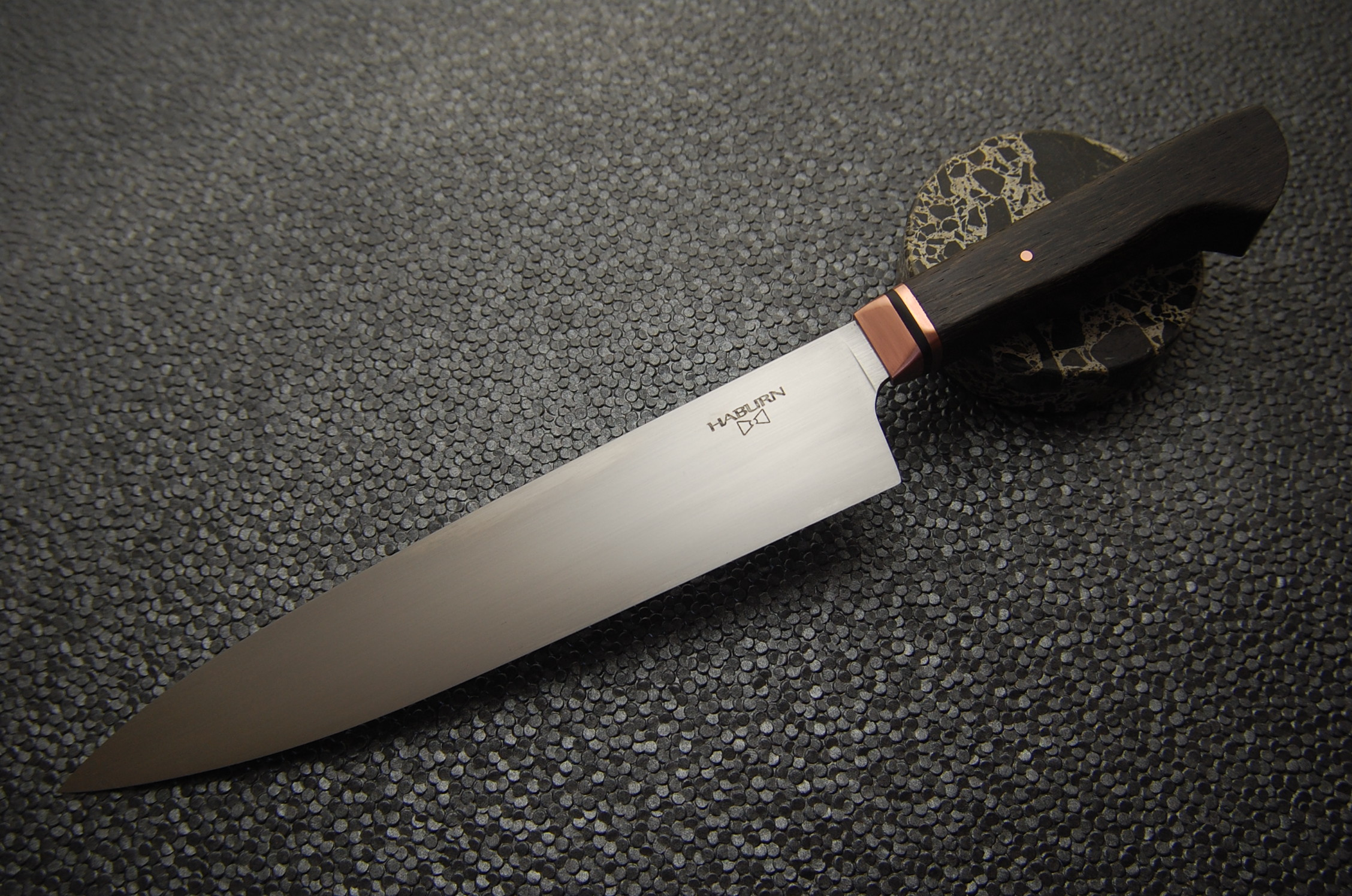 240mm Western Gyuto in 52100 with Copper, G10, and Black Lacewood.