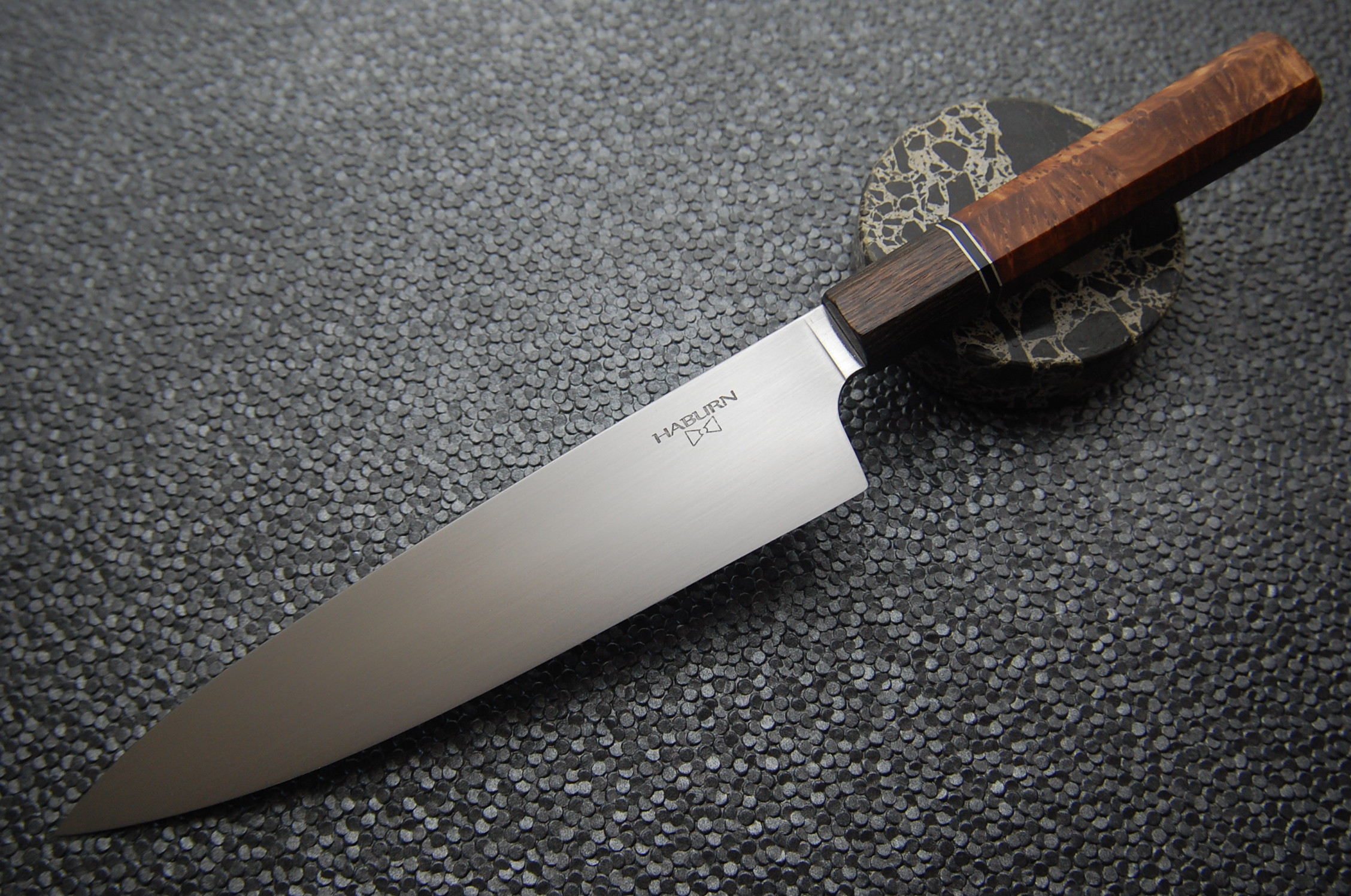 210mm Wa Gyuto in 52100 with Black Lacewood, SS Spacers and Redwood Burl.