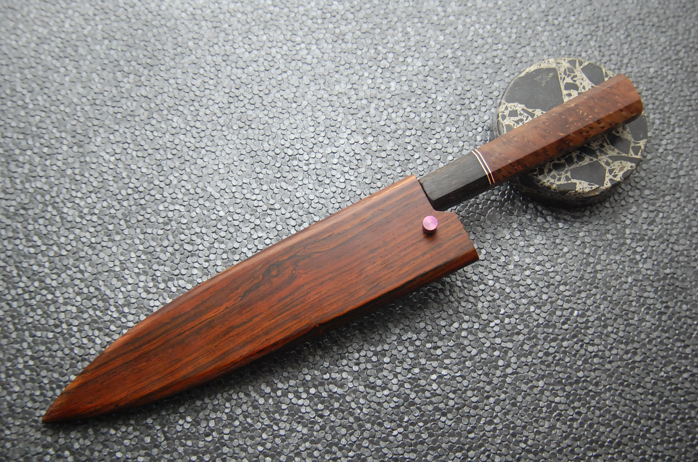 The saya is cocobolo with a wenge liner to match the handle.