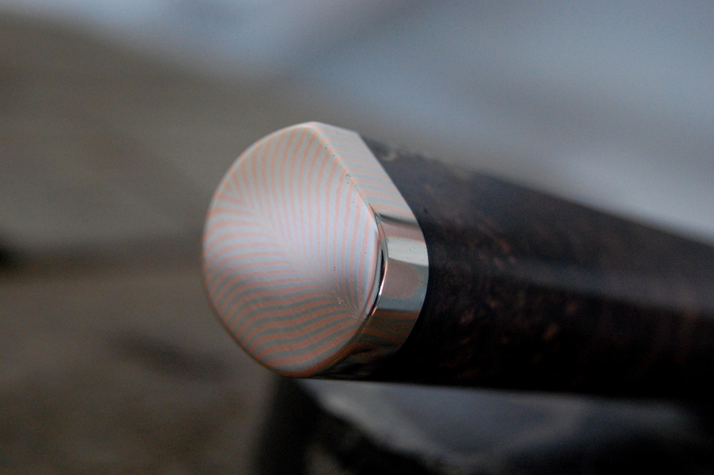 Feather mokume-gane polished.