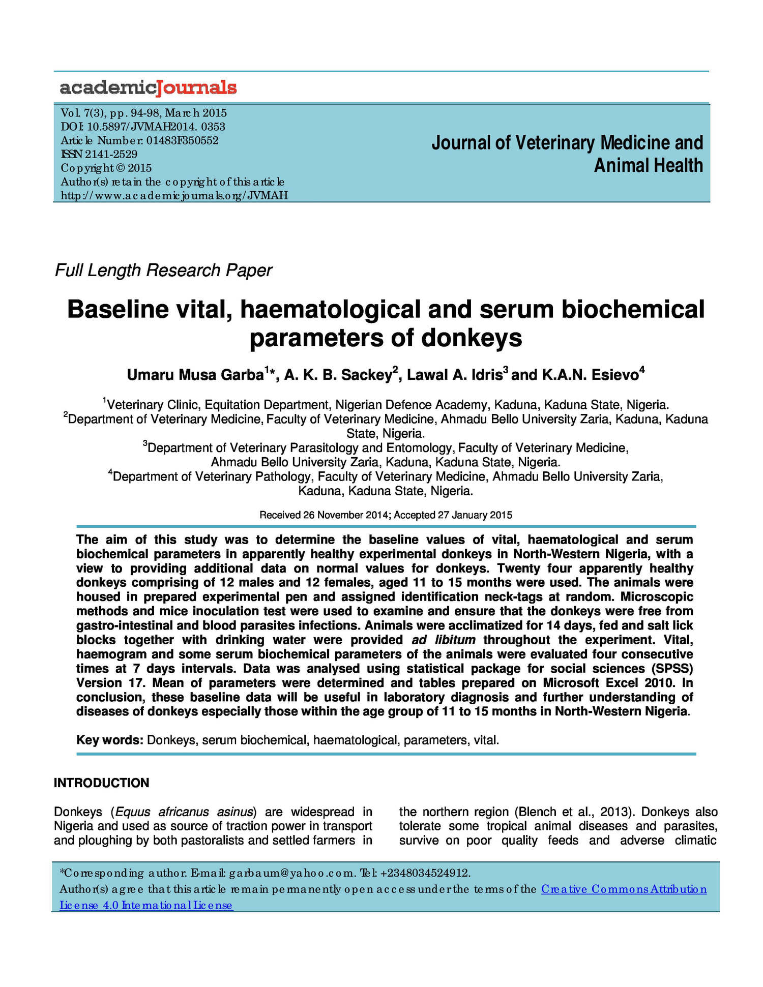 Baseline vital, haematological and serum biochemical