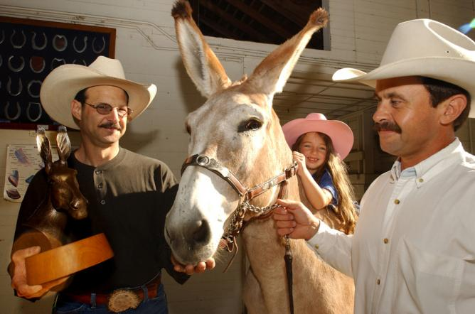 A bronze moment in 2004: Trent Meyer holds one of his Action Jackson quarter-scale busts, while his daughter, Eliana, sits atop the donkey, held by Dan Sehnert, facilities coordinator for the animal science department. (Debbie Aldridge/UC Davis)
