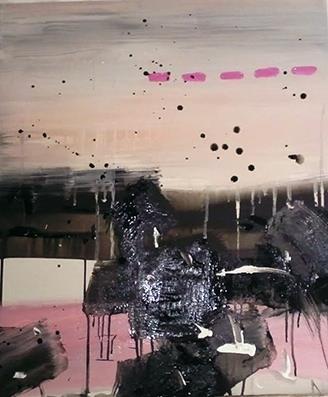 Pink Stitches .2010.45.5 x 53.0 cm.Acrylic on canvas.