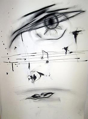 Face #19 .2006.39.3 x 54.5 cm.Compressed charcoal and black ink on paper.