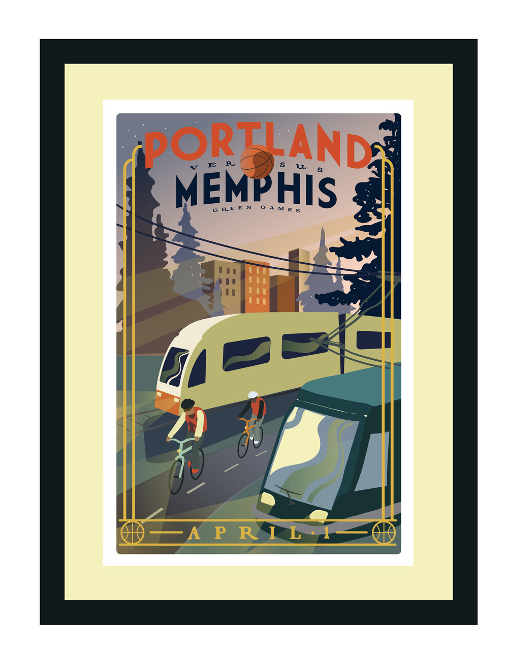 """Portland vs. Memphis"" Green Games Transportation poster for the Portland Trail Blazers, 2017. Dimensions: 12 in. x 18 in."