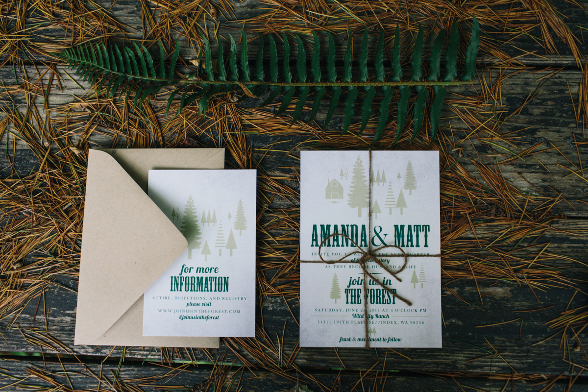 photo by Jess Hunter / Pacific Northwest wedding and elopement photographer / intimate Seattle mountain wedding at Wild Lily Ranch / Seattle, washington elopement photographer / Washington state elopement / forest wedding idea / forest wedding invitation