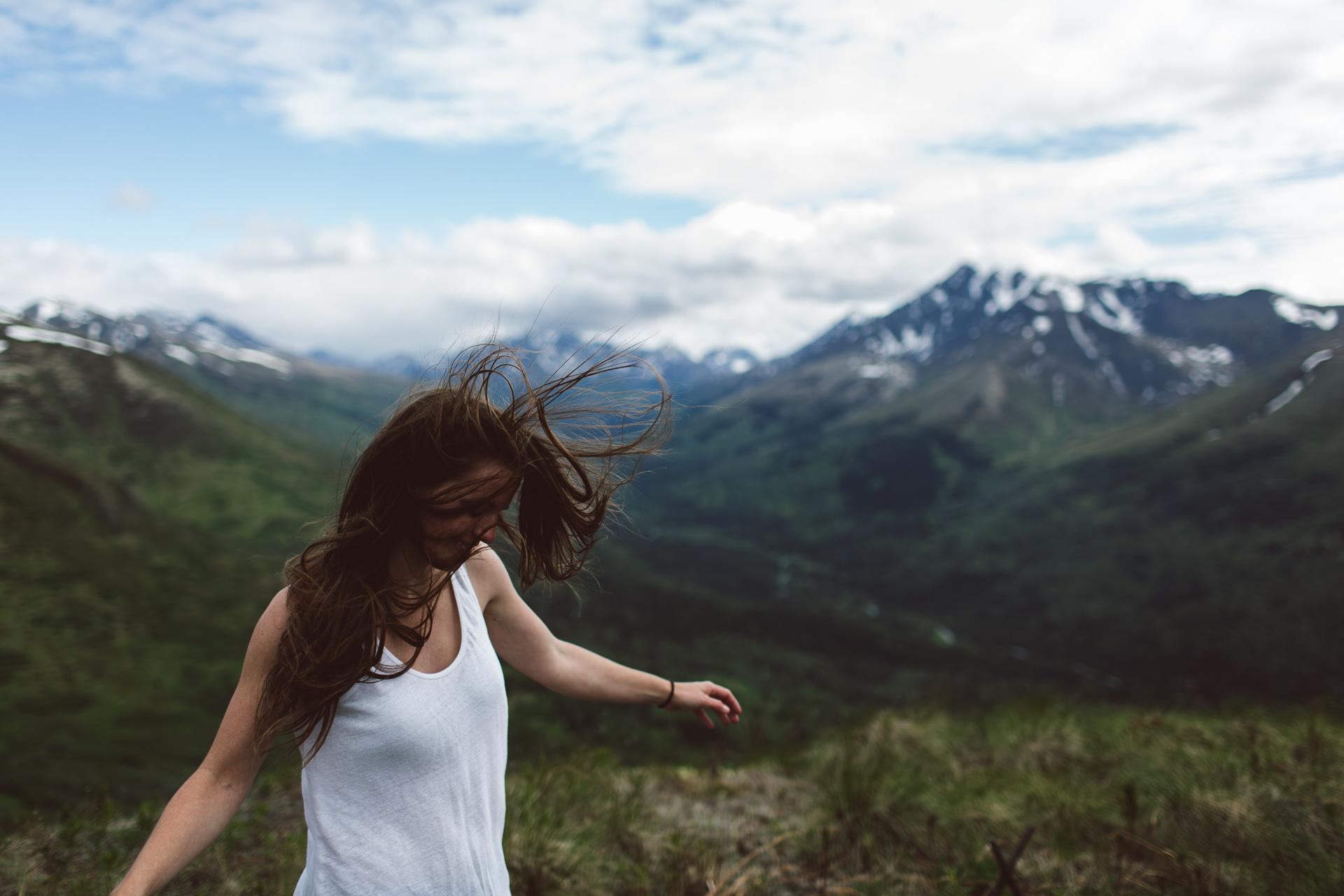 Jess Hunter hiking in Anchorage, Alaska