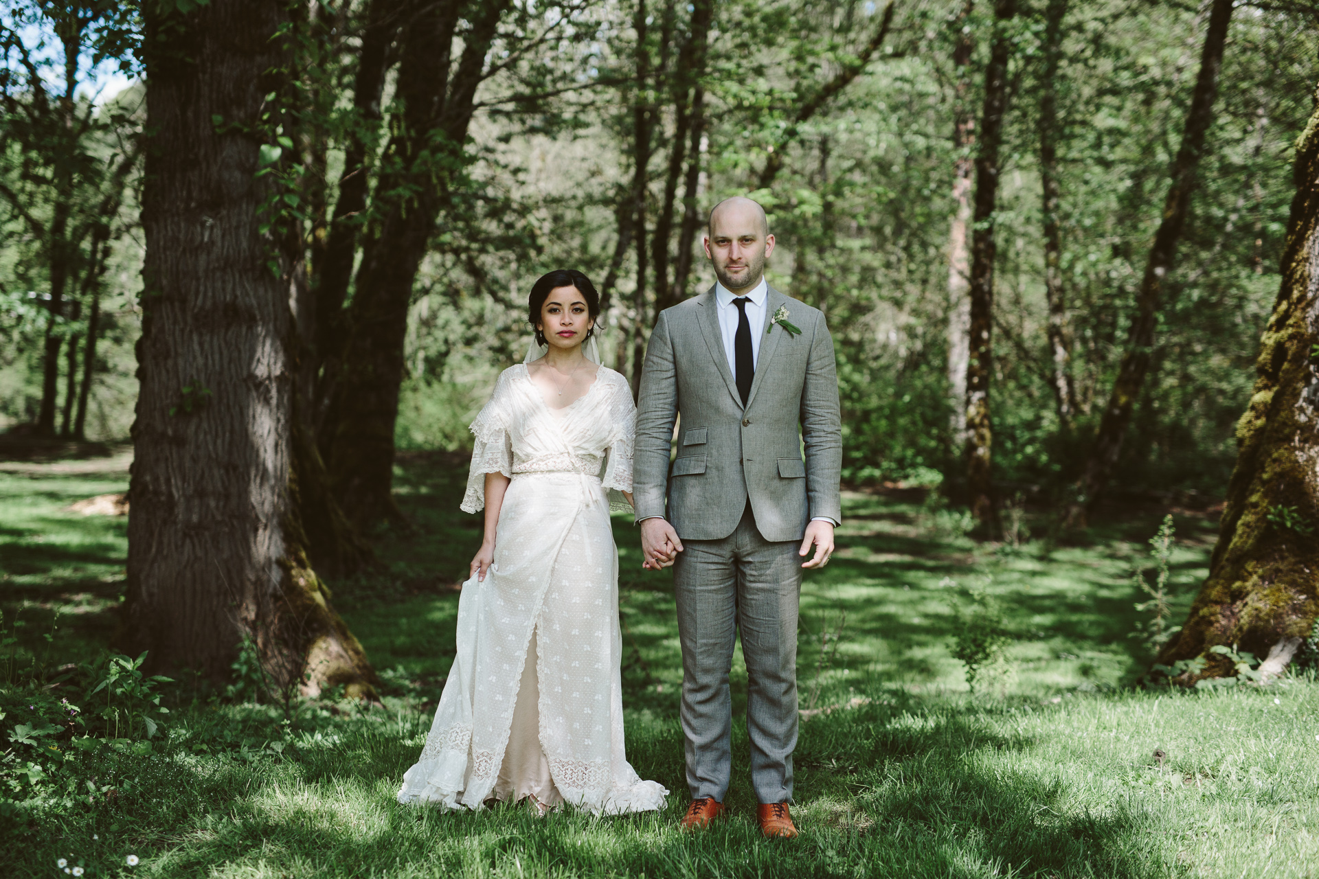 photography by Jess Hunter, intimate Portland wedding photographer, botanical inspired wedding in Portland, OR at a pioneer church, vintage lace wedding dress, hipster Portland wedding, elopement in the forests of Oregon, forest bride, vintage bridal style, Jessica L Hunter, Seattle elopement photographer, PDX wedding