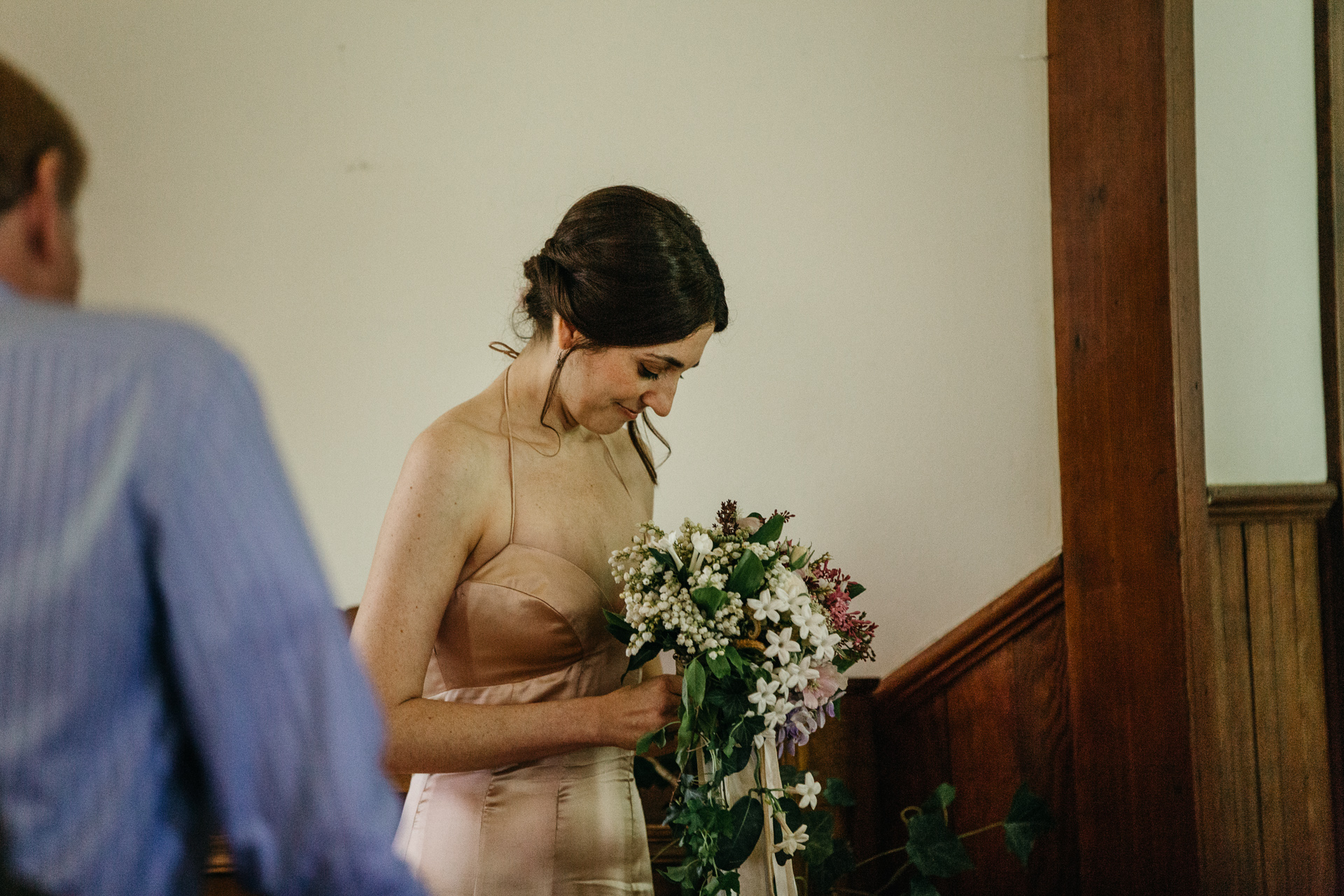photography by Jess Hunter, intimate Portland wedding photographer, botanical inspired wedding in Portland, OR at a pioneer church, vintage lace wedding dress, hipster Portland wedding, elopement in the forests of Oregon, forest bride, vintage bridal style, Jessica L Hunter, Seattle elopement photographer, PDX wedding, bride getting ready in a vintage robe