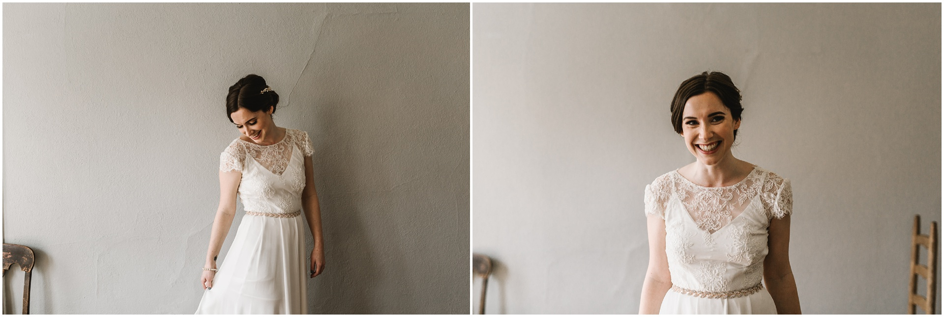 Intimate Portland Oregon wedding photographed by Jess Hunter, stylish air bnb in Portland for bride getting ready, Elder Hall wedding in Portland, Sarah Seven wedding dress, Anthropologie wedding