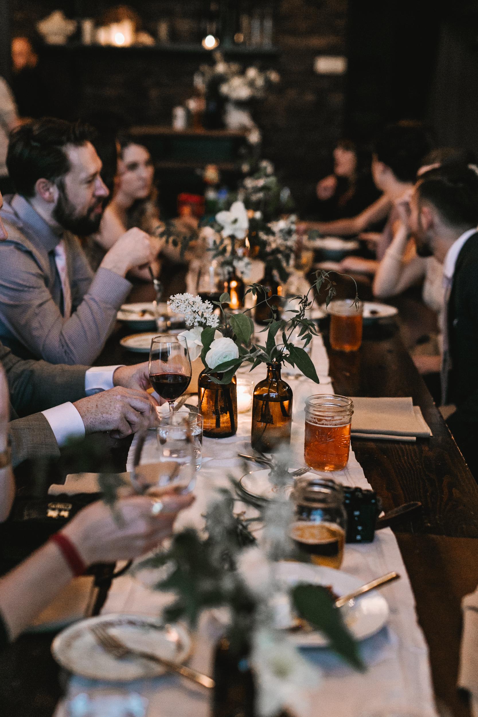 Intimate Portland Oregon wedding photographed by Jess Hunter, stylish air bnb in Portland for bride getting ready, Elder Hall wedding in Portland, Sarah Seven wedding dress, Kinfolk inspired wedding, hipster wedding with greenery