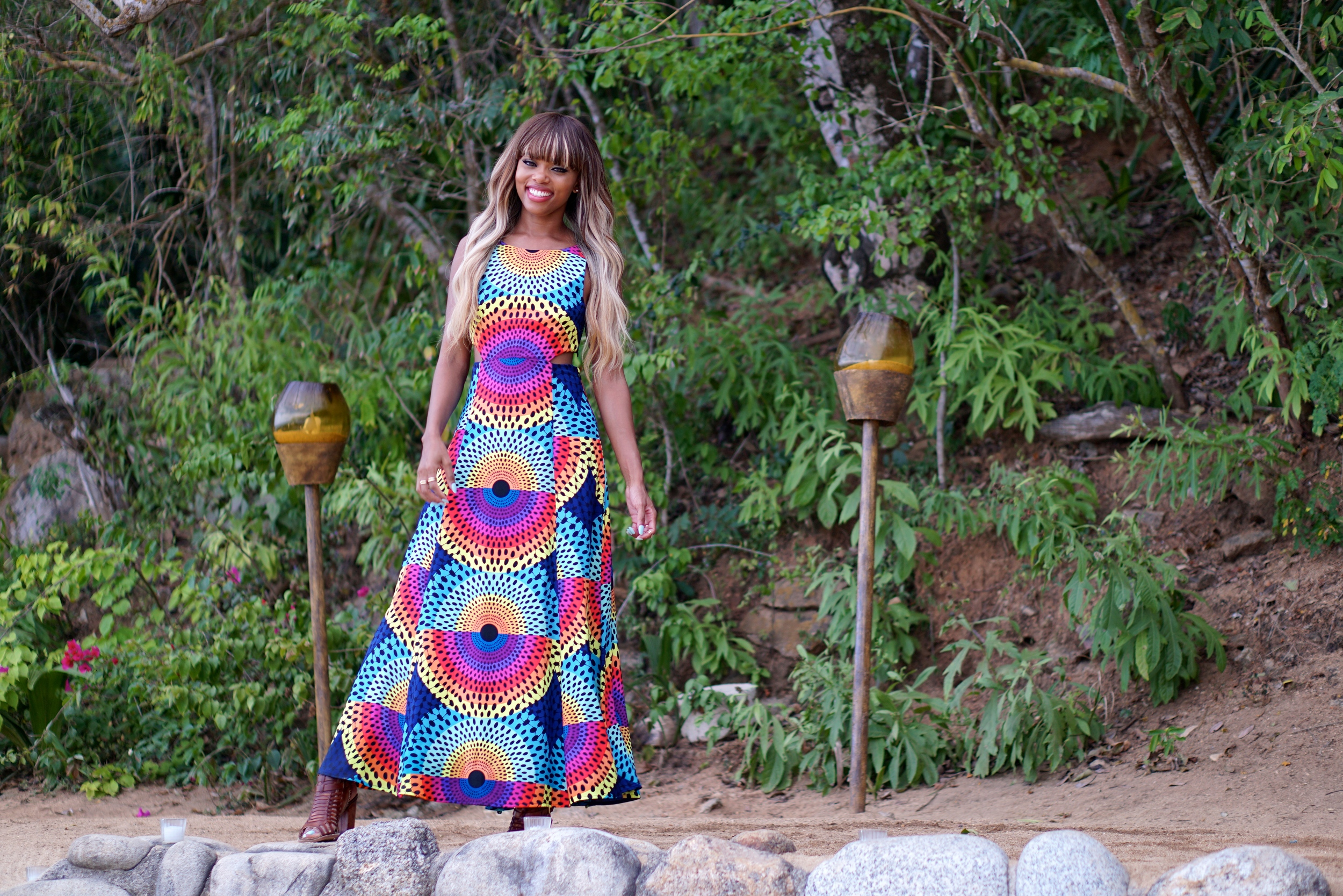 Fell in love with this Mara Hoffman Dress - Perfect for the weddingceremony that was held on a private beach onthe edge amountainside.