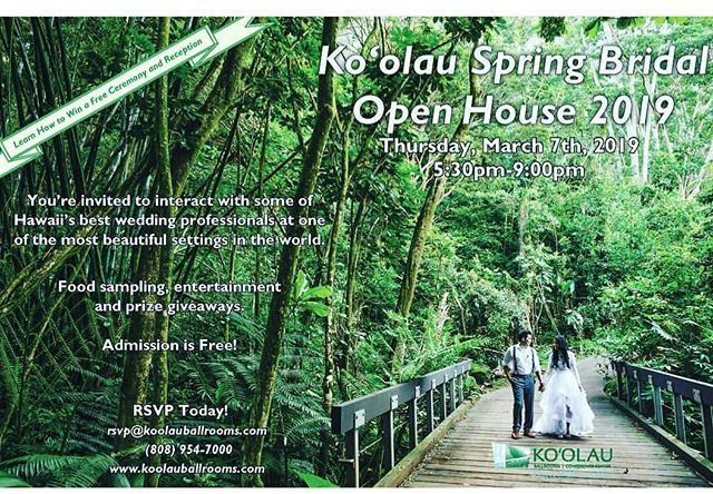 Tonight! Stop by and take photos with us and meet other wedding professionals at the gorgeous #koolauballrooms #prizes #food #livemusic @koolauballrooms 🌴 . . . . . #oahuweddings #hawaiiphotobooth #oahuphotobooth #weddingprofessionals #bride #groom #openairphotobooth #koolau #koolaumountains #aloha #mahalo #destinationwedding #tropicalwedding #weddingphotographer #florist