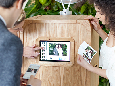Social Media Kiosk - No more holding up the line to email the photo to yourself or to upload to social media. Our open air booth has two screens, one for photo taking, and one social media kiosk. You can instantly share your photos via, email, sms, facebook or twitter.