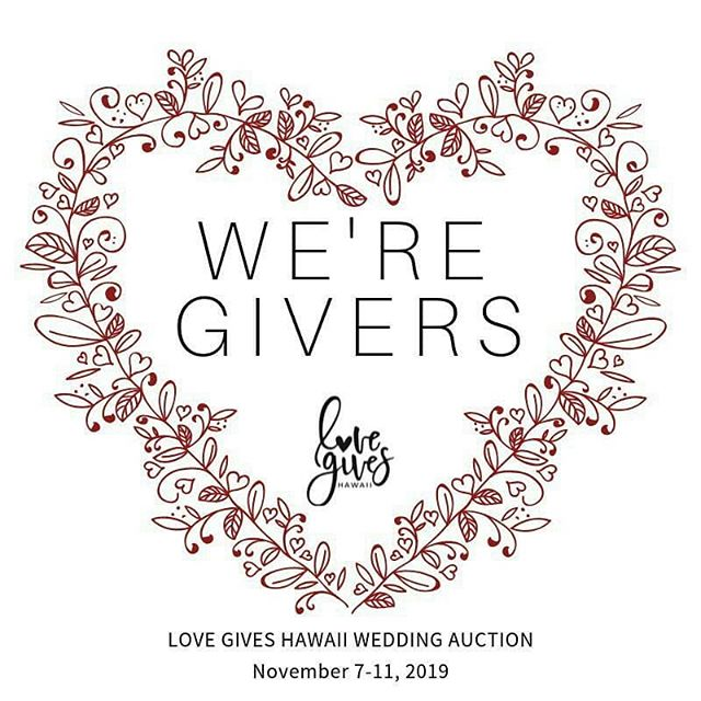We are thrilled to be participating in the Love Gives Hawaii Wedding Auction from November 7-11, 2019 which will take place online. Visit @lovegiveshawaii for more info and for the link to the auction site to check out the awesome item we donated. Proceeds will benefit two local Hawaii charities @familypromiseofhawaii and @life360_hi