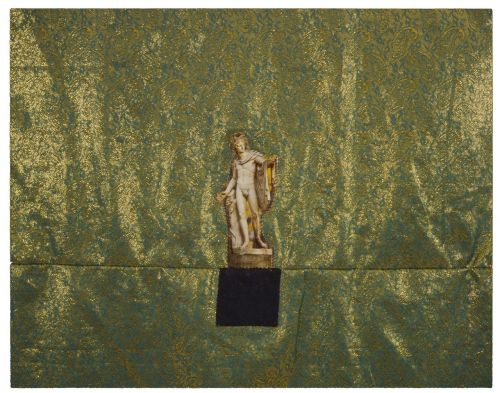 Apollo trampling on black square , 1991. Mixed media on fabric.