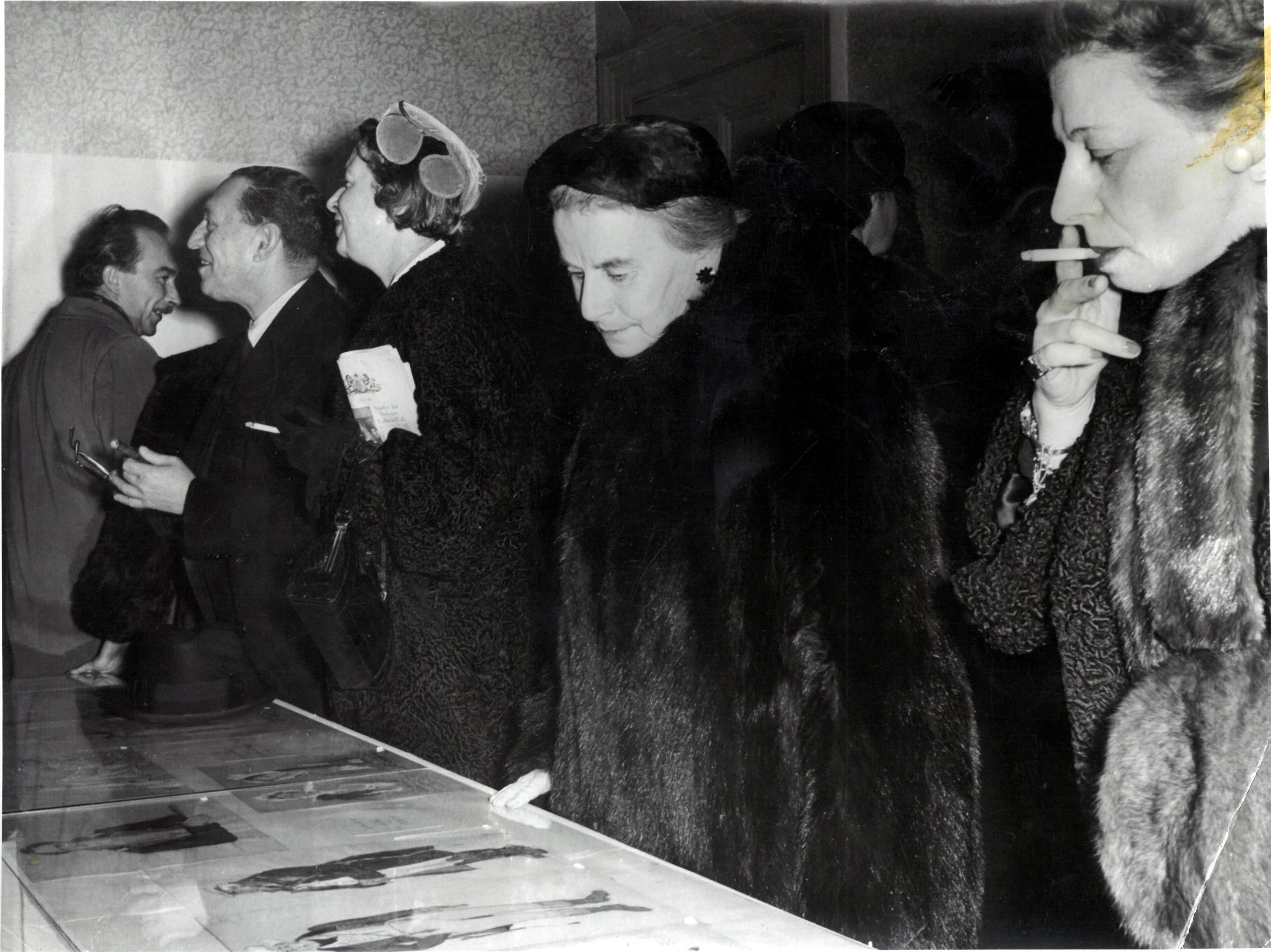 Opening of Mstislav Dobuzhinsky exhibition at Pushkin House, 19th January 1957. In the centre - Dame Marie Rambert.  From the Pushkin House archive.