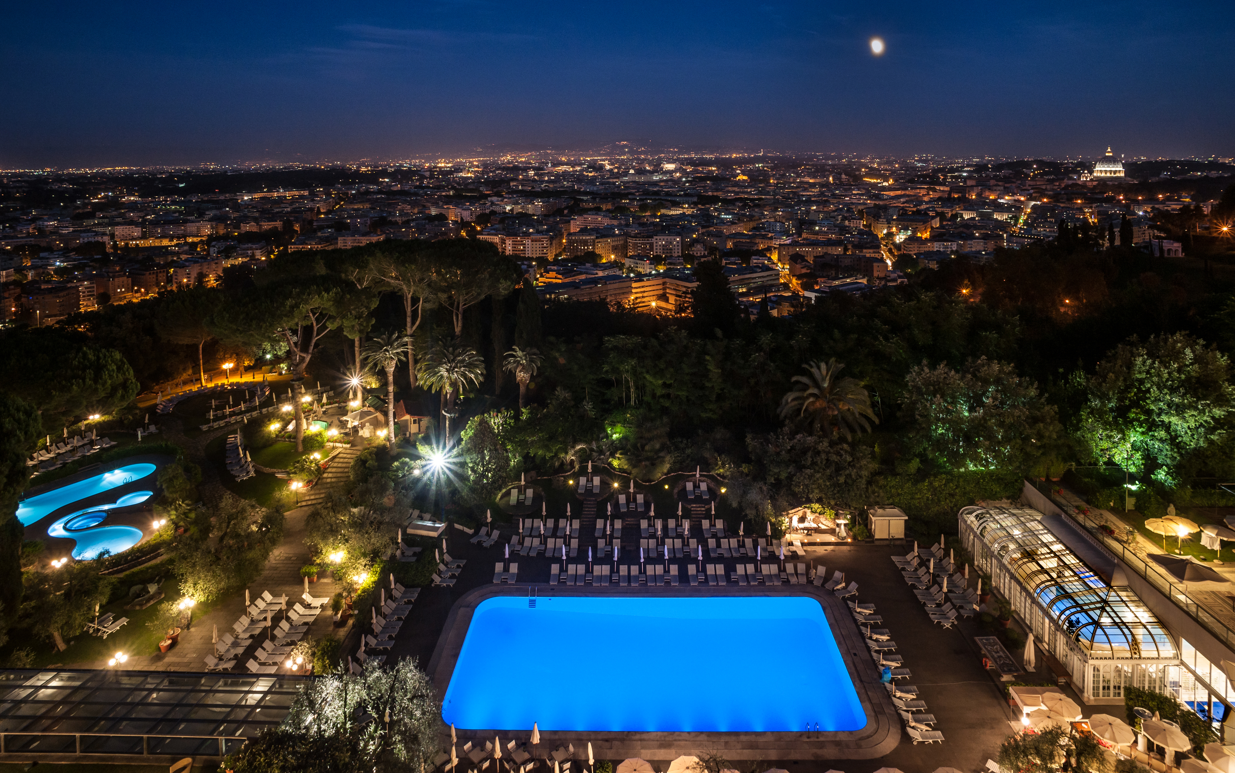 The outdoor pools at night