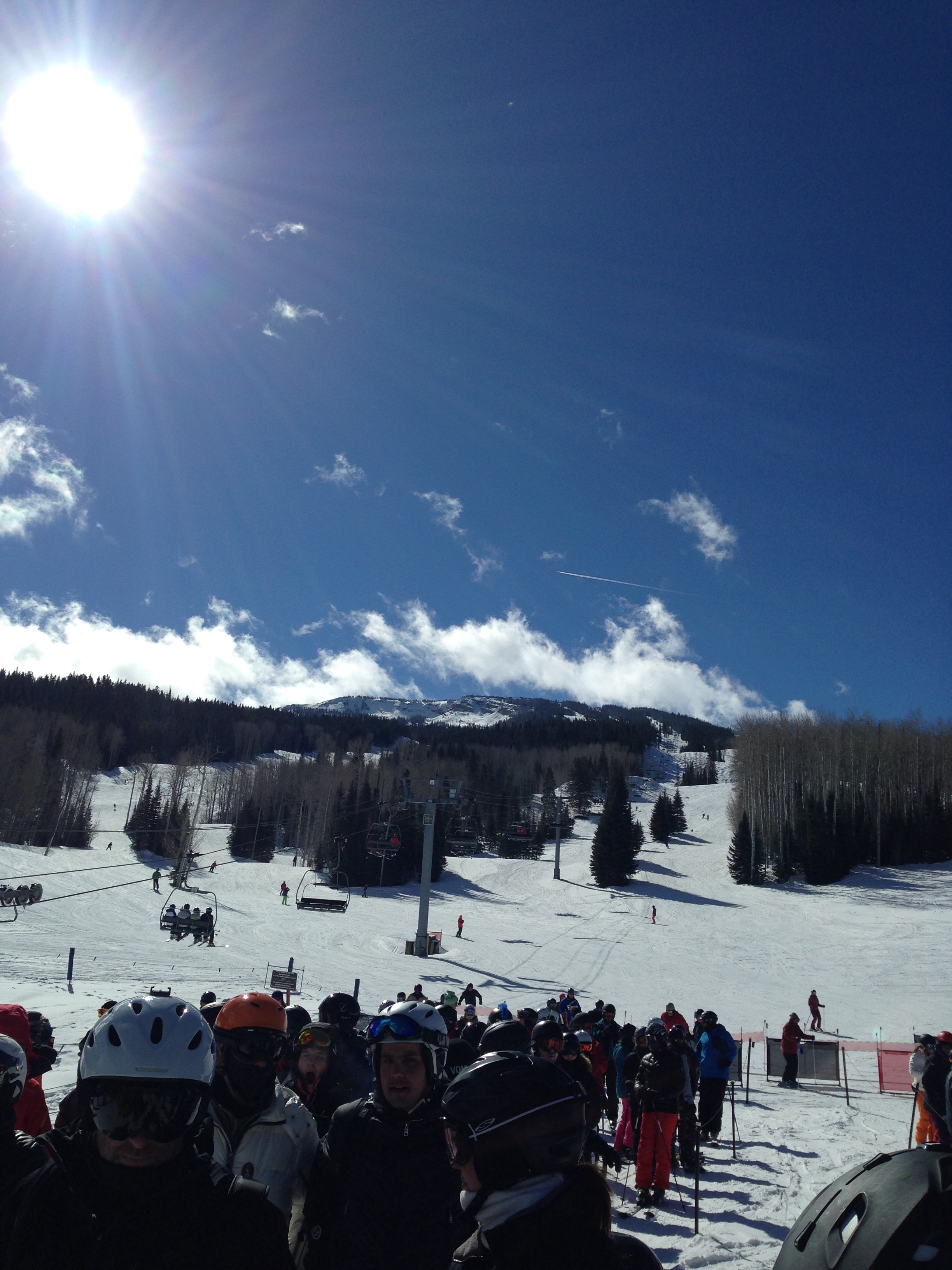 Bluebird days in Aspen while New York was frozen gray
