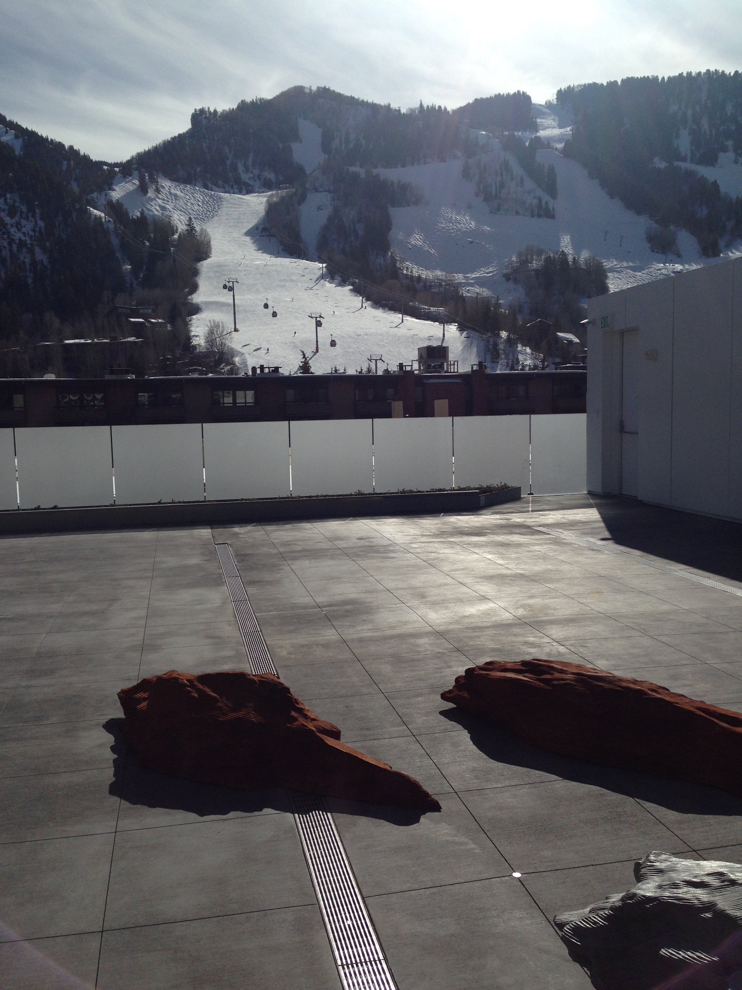 Sculpture garden on the roof of the new Aspen Art Museum, which has a great cafe