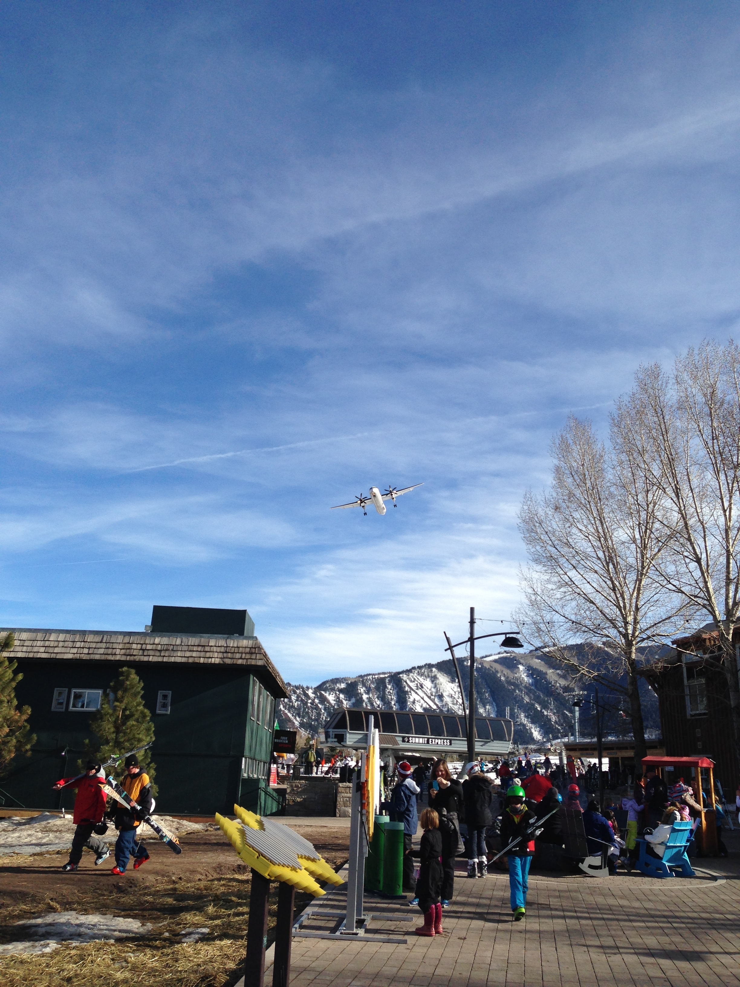 A plane landing over Buttermilk, which is right next to the Aspen airport (the kids loved this)
