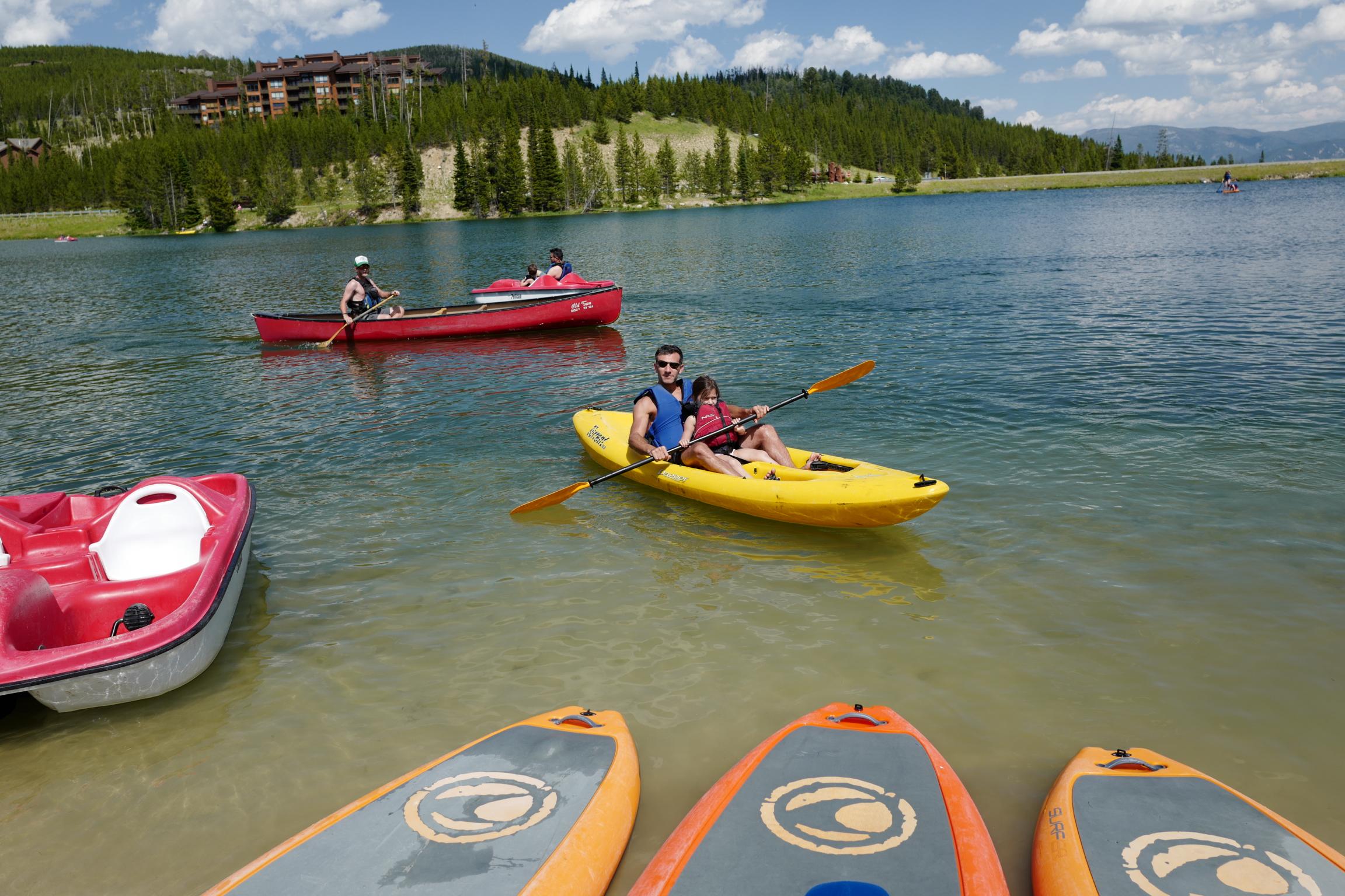 Kayaking on a nearby lake