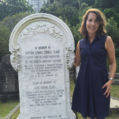 Polly Brandmeyer at Captain Plant's gravestone in Happy Valley Cemetery