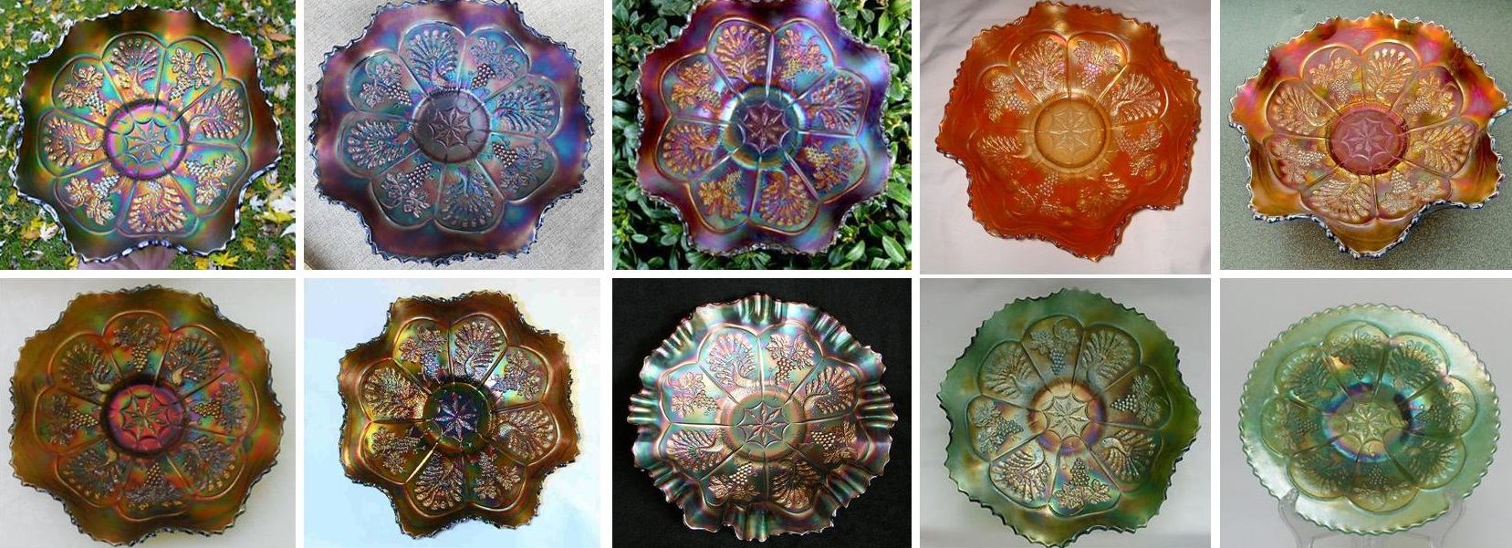 All of these bowls are in the same pattern, Peacock and Grape. You can see all the variations, not only in color, but also the variations in iridescence. No two pieces of green carnival glass, for example, will have the exact same iridescence. Each piece is one of a kind and unique - so it is up to the collector to decide which pieces they like best and what tone of iridescence they find attractive..