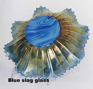 iridescence over Blue slag glass, rare color