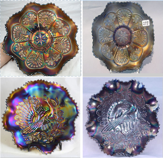 """Left are bowls with good iridescence, to the Right are bowls with """"Silvering"""". Silvering occurs when a bowl starts to lose it's iridescence, it will take on a silver or gun metal look. Avoid bowls with silvering, as this is a sign that they have significant wear to their finish."""