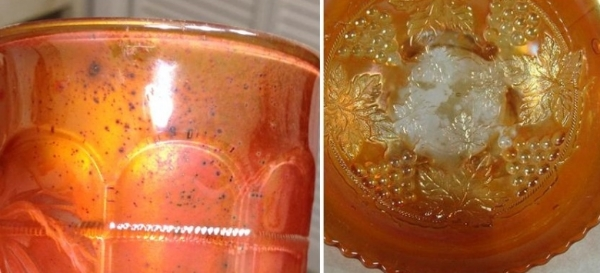 """The first picture shows """"rusting"""", which is droplets of the iridescent spray that dry darker and produce a freckling effect. The next picture shows a bowl with significant wear to the iridescence in the bottom of the bowl. The bowl is so worn, that the iridescence is completely gone in places, leaving only clear glass. These are imperfections you want to avoid."""