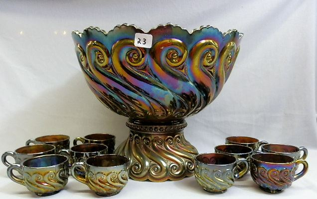 This S Repeat punch bowl was listed in a Jim Wroda auction. The bowl has an internal crack, but because of it rarity, it still went for a very high price. In pieces like this, where the pattern is rare or hard to find, damage does not have a significant impact on value.