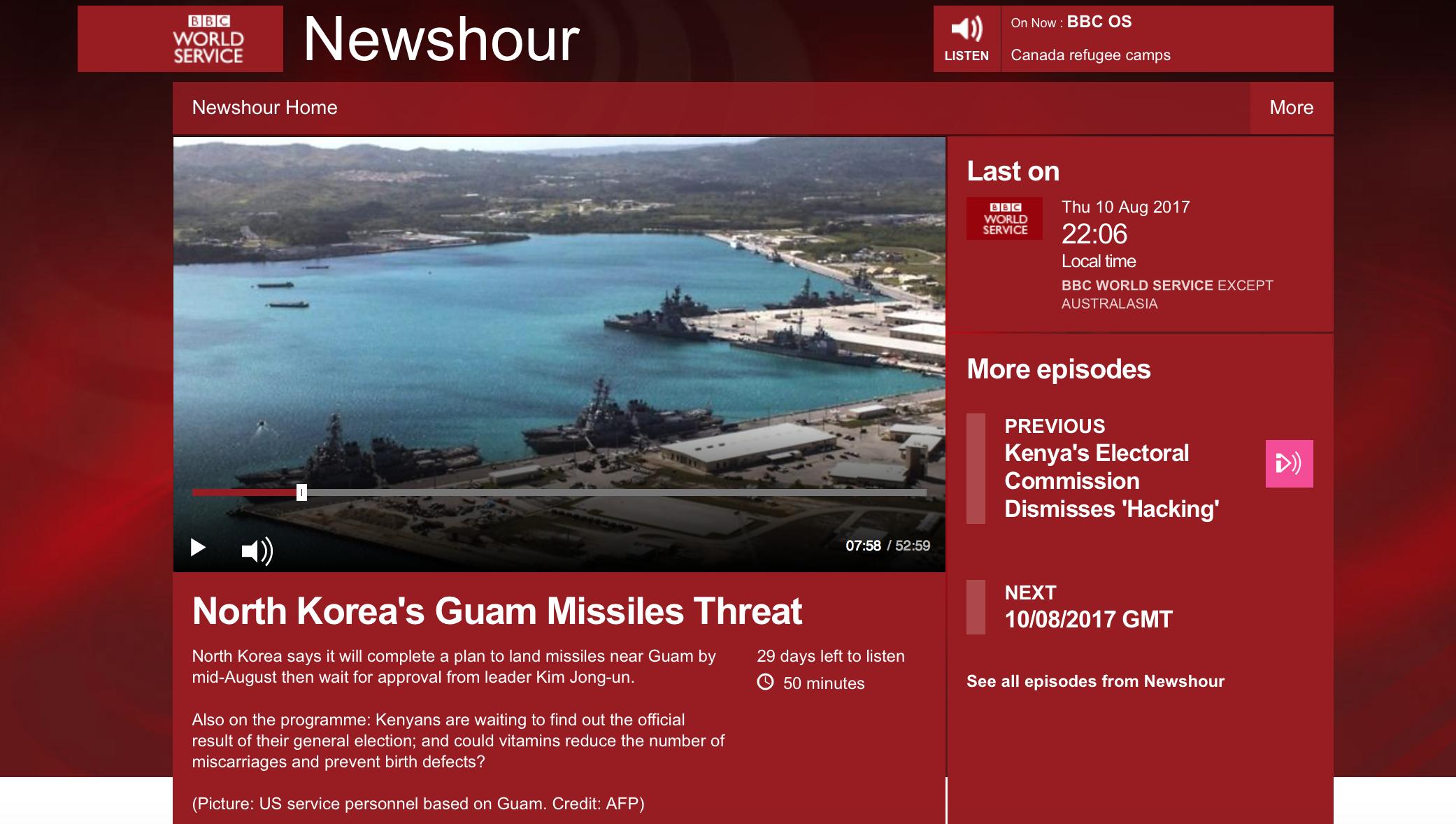 BBC Newshour Aug 10 2017