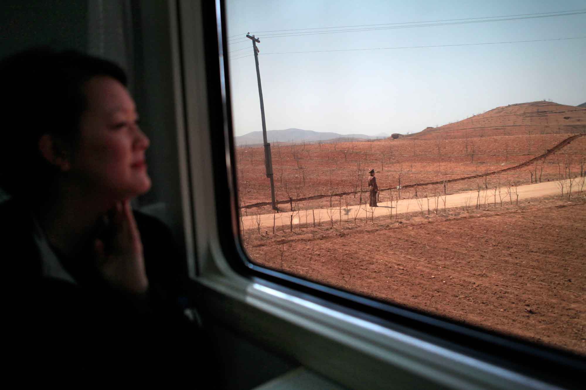 On a train in northwestern North Korea. (Photo by Ng Han Guan,courtesy Jean H. Lee. All Rights Reserved.)