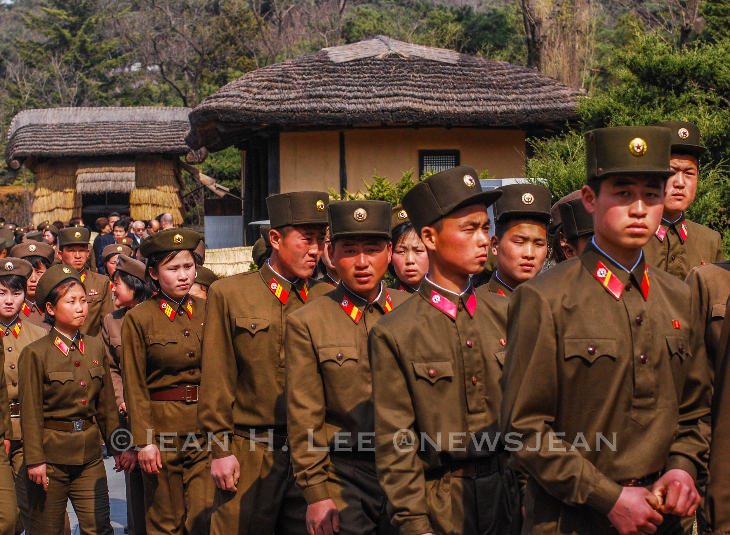 North Korean soldiers mark the birthday of late President Kim Il Sung by visiting his birthplace. Photo credit: Jean H. Lee. All Rights Reserved.