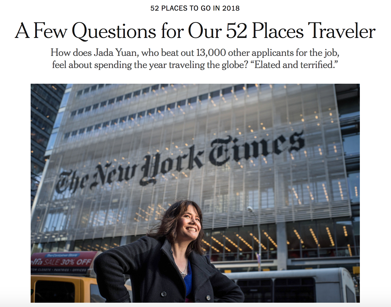 Thanks to Jada Yuan, the New York Times' new World Traveler, for the shoutout in her interview about how she's preparing for her yearlong, 'round-the-world journey!