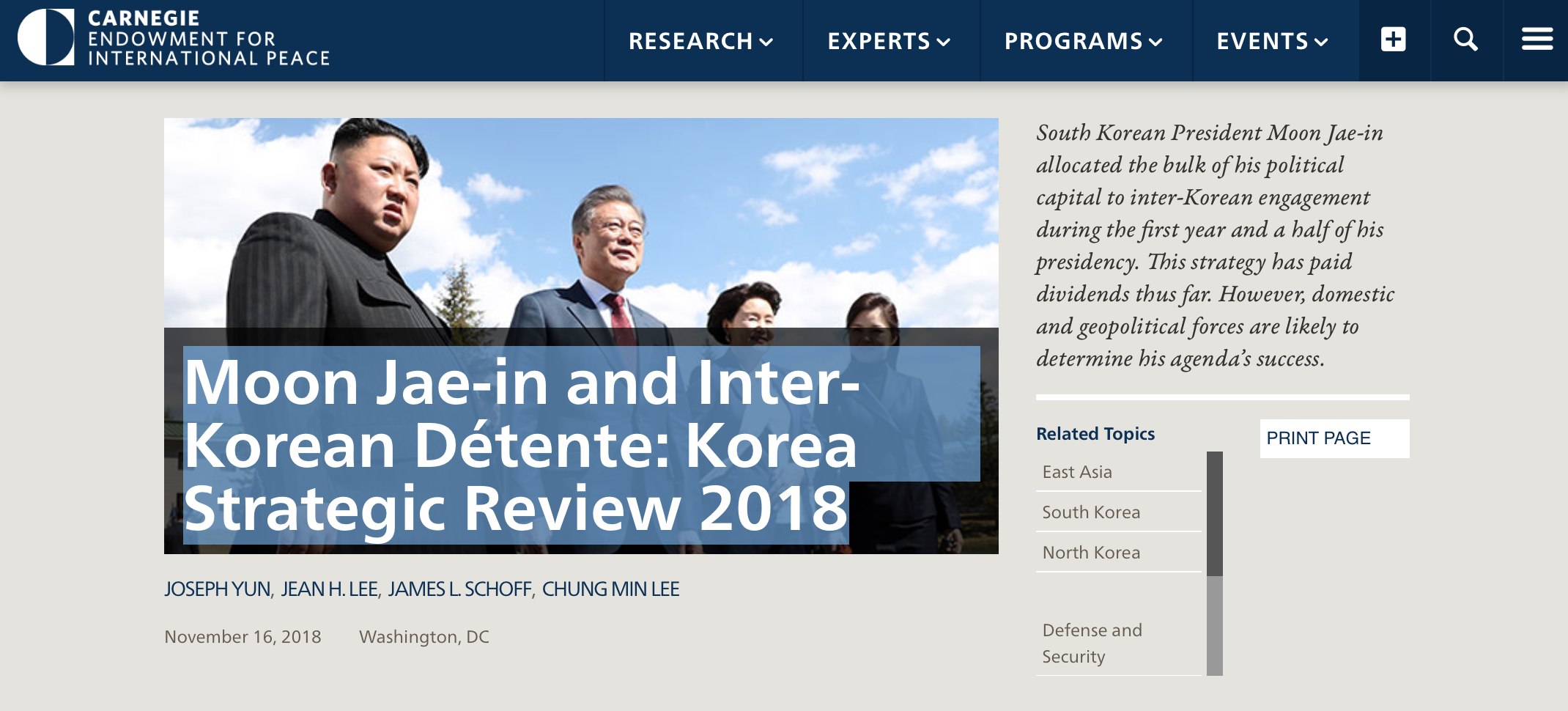CEIP Moon Jae-in and Inter-Korean Détente: Korea Strategic Review 2018