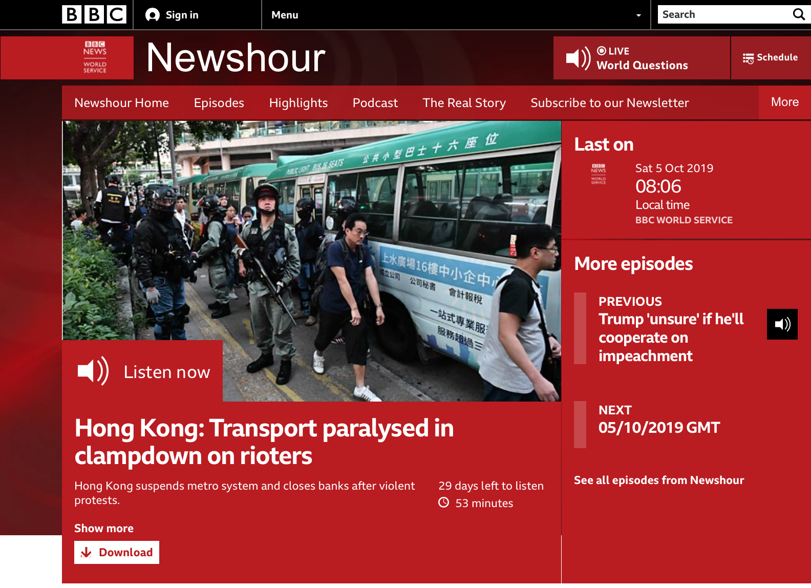 BBC Newshour 20191005