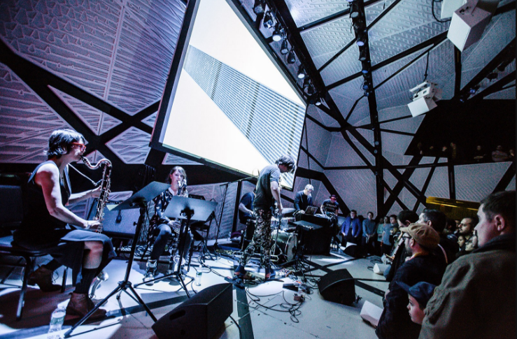 Disrupt Series with Sufjan Stevens, Jan St. Werner (Mouse on Mars), Kid Millions, Benjamin Lanz (The National, Beirut), and Christa VanAlstine at National Sawdust in Brooklyn. PSquared Photography