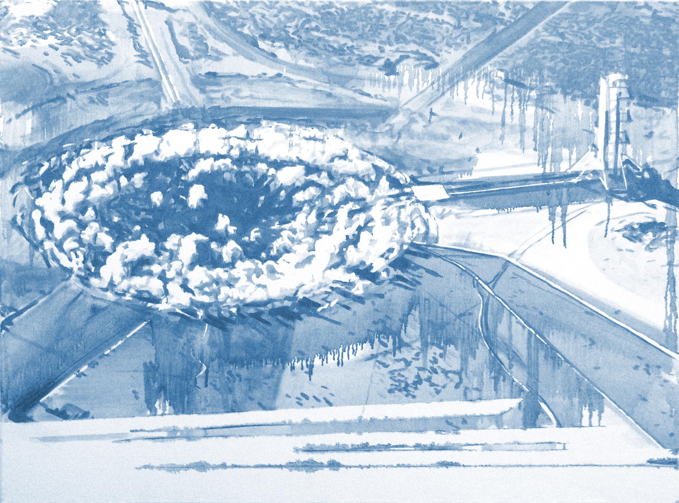"Underground Nuclear Test, Nevada, Oil on linen, 40x30"", 2014."