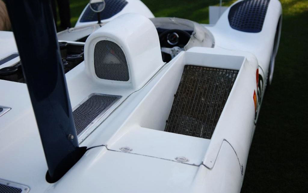 The relocated and ducted radiators which allowed room for the Venturi tunnel front aero.